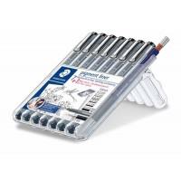 Feutres calibrés STAEDTLER PIGMENT LINER Fineliner + 1 porte-mine MARS 775 0.5 – Box de 7