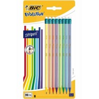 Crayon graphite BIC Evolution Stripes Bout gomme – Set de 8