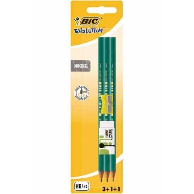 Crayons graphites BIC Evolution HB N°2 – Set de 3 + 1 gomme