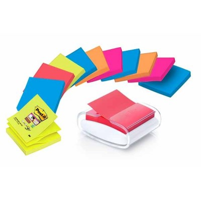 Dévidoir Z-Notes POST-IT Design Pro Blanc + 12 x Z-Notes Post-it Super Sticky