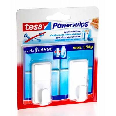 TESA powerstrip 2 haken classic wit